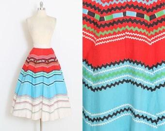 Vintage 50s Skirt | 1950s southwestern print skirt | cotton skirt | xs/s | 5999