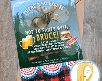 Moose Birthday Party Invitation, Hunting Birthday Invitation, Hunter Invite, Beer, BBQ, Buffalo Plaid, DIY, Printed or Printable Invitations