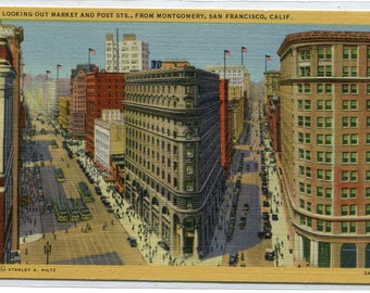 Market Post Streets San Francisco California linen postcard