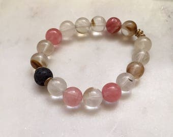 Quartz Bracelet - Handmade - Beaded Bracelet - Essential Oil Bracelet
