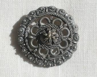 Vintage Cannetille Silver Brooch
