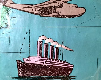 Vintage NEW Pkg Wrapping Gift Paper Sealed Masculine Ships Planes 2 Sheets American Greetings Scrapbooking