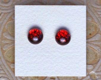 Dichroic Glass Earrings, Dark Cherry DGE-1148