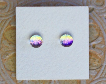 Dichroic Glass Earrings , Petite, Gold/Green Tint/Magenta  DGE-1245