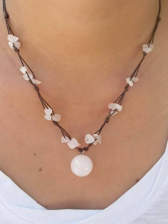 Rose Quartz Gemstone Beaded Wax Cotton Pendant Choker Summer NECKLACE Thai Jewelry
