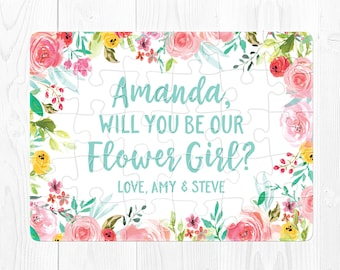 Flower Girl Puzzle Proposal Flower Girl Proposal Puzzle Will You Be My Flower Girl Proposal Gift Will You Be Our Aqua Floral Pink Blue Cute