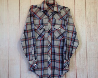 Vintage 90s Lariat Red White Blue America Pearl Snap Button Country Western Shirt Mens Small S