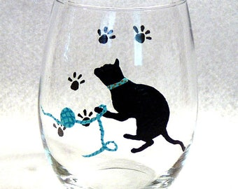 Stemless Wine Glass Cat Silhouette Hand Painted