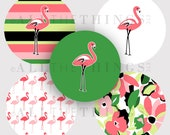 CLEARANCE! FLAMINGO PARADISE Palm Beach Tropical Clip Art Graphics Images Bottle Cap One & Two Inch Circle m2mg Instant Digital Download