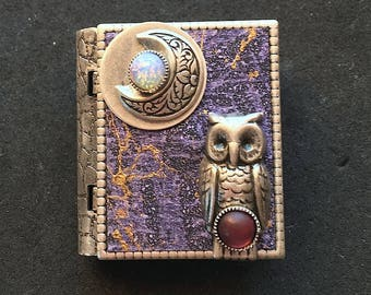 New Moon and Owl miniature book pin