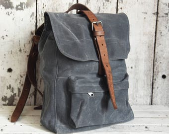 Waxed Canvas Backpack Little Rogue in Slate, Rucksack, Waxed Canvas Bag, Bicycle Bag, Bike Bag, Waxed Canvas Travel Bag, WWII Leather Straps