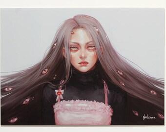 Plasticmoon Freja Original Art Print, Pretty Girl Print, Eyeball Art, Beautiful Girl Art, Melancholy Girl Art, Menhera Art, Creepy Cute Art
