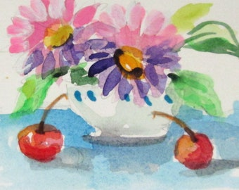 Flowers and Cherries aceo original artist trading card Art by Delilah