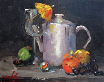 Parasol and Tea Pot oil painting 8x10 still Life Art by Delilah