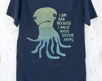 Funny Men's Silk Screened Octopus T-shirt - Sad Seven Armed Octopus