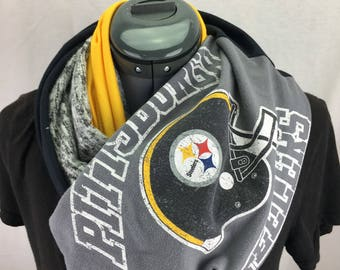 Pittsburgh Steelers Recycled Upcycled T Shirt Infinity Scarf