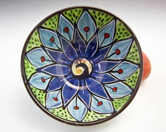 Small Ceramic Serving Bowl - Blue Lotus Flower - Clay Bowl - Majolica Pottery - Kitchen Prep Bowl - Mandala Pattern - Pottery Bowl - Peacock