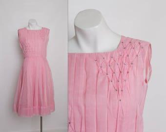 vintage 1950s pink chiffon dress with rhinestones