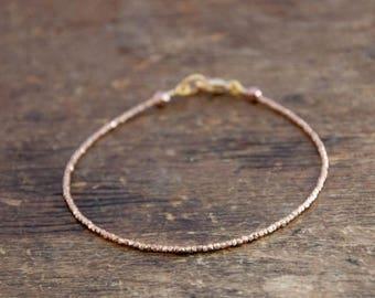 SALE Essential Beaded Tennis Bracelet, Beaded Bracelet in Rose Gold, Pure Silver or Gold Vermeil, minimalist bracelet