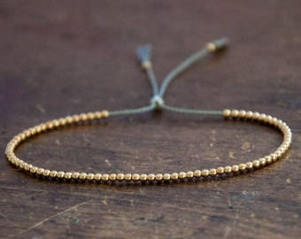SALE Solid 10k Yellow Gold Beaded Friendship Bracelet, delicate bracelet with dainty beads with silk