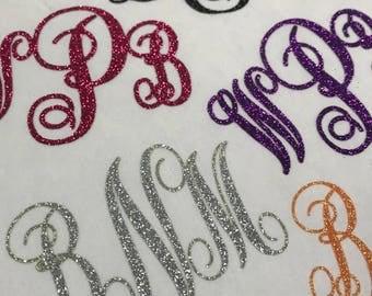 Iron On Custom Glitter Monogram, Glitter Script Monogram, Iron On Transfer, Custom Monogram, DIY Monogram, Glitter Monogram