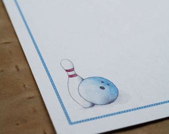 NEW! Bowling Bowler Thank You Notes Custom Notecard Stationery. Personalize Watercolor Print, Set of 10.