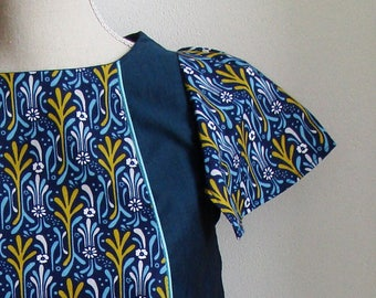 Butterfly teal BLOUSE and new art print