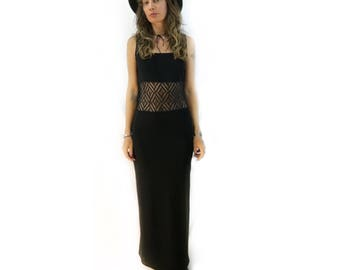 vintage 90s mesh lace cutout waist black maxi dress // size small