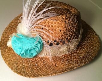Baby Girl Hat & Headband Country Wedding Flower Girl Turquoise