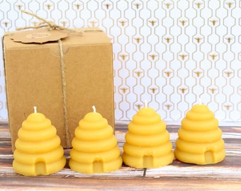 Handmade Candles. 100% Natural Beeswax Candles. Set of 4.
