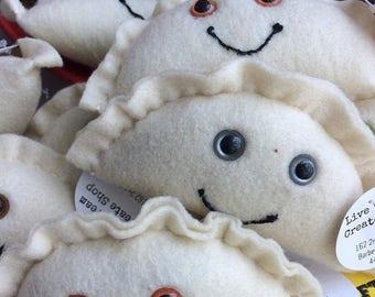 ON SALE Felt Kawaii Pierogi Plush Toy/Ornament/Decoration (your choice of eye color)