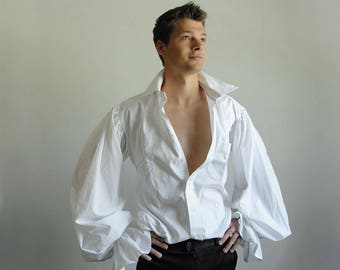 Pirate Shirt  (Size 16.5 neck, 32/33) - Upcycled, Buttonless collar
