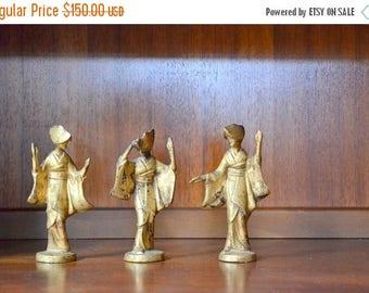 SALE 25% OFF vintage mid century modern cast bronze japanese geisha figurines / mothers day / mom