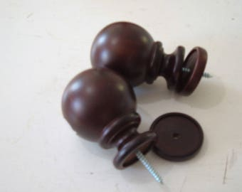 Two Giant Finials for Wood Curtain Rods, Beautiful Walnut Finish, 4.5 Inches Long