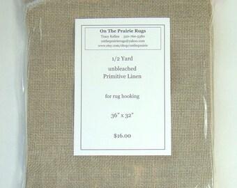 "Half Yard Rug Hooking primitive linen, 36"" x 32"""