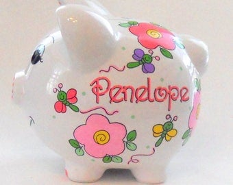 Personalized Piggy Bank Pink Flowers and Dragonflies