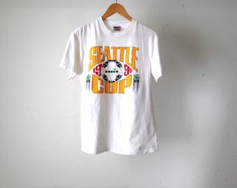 vintage SOCCER 1994 Seattle Cup DIADORA sponsored white t-shirt size medium
