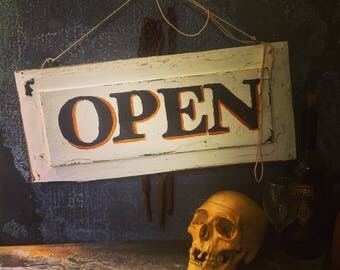 """Open Sign / Double-sided Open and Shut Sign / Hand Painted Wooden Sign / Antique Pine Door Panel / Distressed / Chippy / 20"""" X 9"""""""