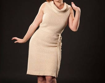 HALF PRICE SALE Vintage 1960s Wiggle Dress - Cowl Neck Knit Shift - Beige Spring Fashions
