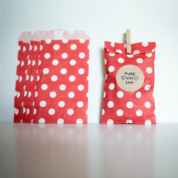 Lot of 12  Red Polk-a-dot Paper MERCHANDISE BAGS various sizes || Wedding Favor Bags, Treat Bags, Candy Buffet Bags, Valentine, Baby Shower
