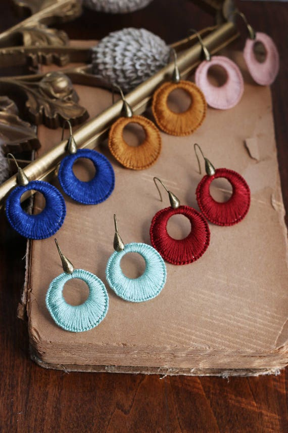 SUNNY- thread wrapped hoop earrings- fiber, hoop, boho