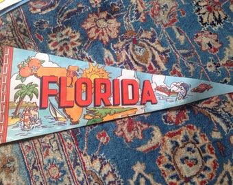 Vintage Florida Pennant Map Alligator Oranges Flamingo