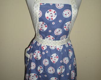 Candy striper style vintage apron Hello Kitty polka blue dots great for kitchen teas bridal showers cotton fabric Ready to ship