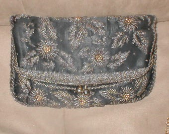 Vintage Black Silk Bronze Beaded Clutch Purse