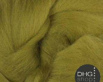 """Superfine merino, 19 microns,""""Olive""""  wool roving, sliver, tops, 1 oz."""