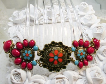 Southwest Flair Red and Turquoise Colors Cabuchons Large French Hair Comb Fascinator