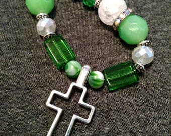 OOAK Irish Christian Necklace, green n white n silver cross necklace statement