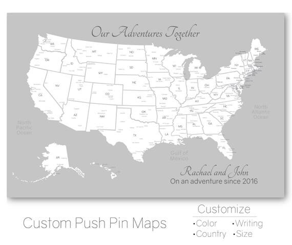 Push Pin Travel Map United States Map Pin Board - Personalized us travel map