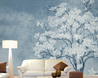 "Magnolia White Flowers Wallpaper Vintage Oriental Floral White Blooms Blue Wall Mural 129.5"" x 93.7"""