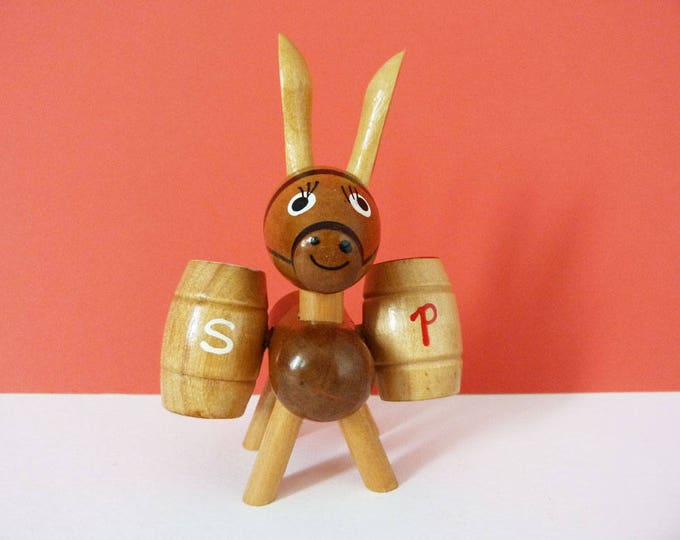 1970's Wooden salt and pepper set donkey